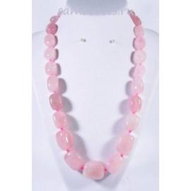 Колье из крупных камней розовый кварц 50 см