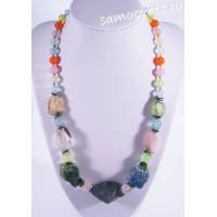 Колье из самоцветов (цитрин, пренит, розовый кварц и др) - Натуральный необработанный камень