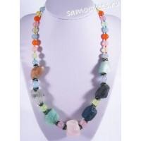 Колье из самоцветов (цитрин, розовый кварц, аметист и др) - Натуральный необработанный камень