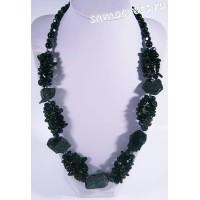 Колье из чёрного агата - Натуральный необработанный камень