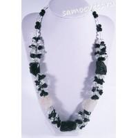 Колье чёрный агат и горный хрусталь - Натуральный необработанный камень