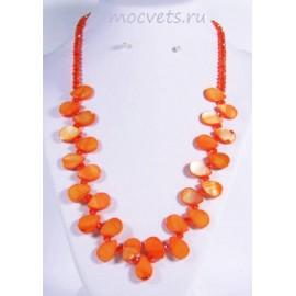 Колье из перламутра капли - оранжевые