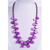Колье из перламутра капли - фиолетовое