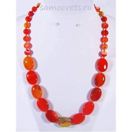 Колье ярко - оранжевый агат - Алгуль