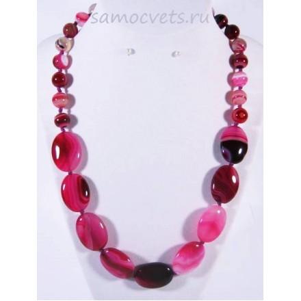 Колье из ярко - розового агата - Алгуль