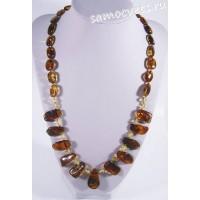 Колье натуральный двухцветный янтарь Халифа 52 см
