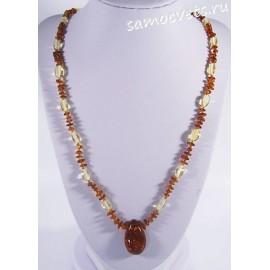 Колье натуральный янтарь с кулоном двухцветное