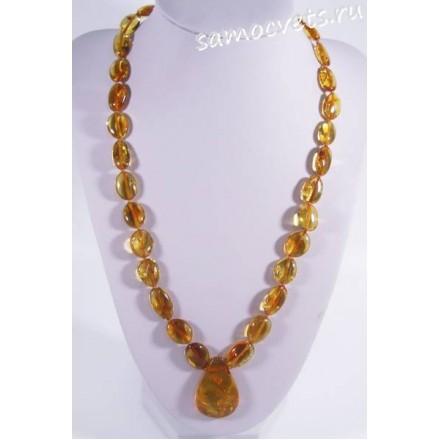 Колье из натурального медового янтаря с кулоном -  1