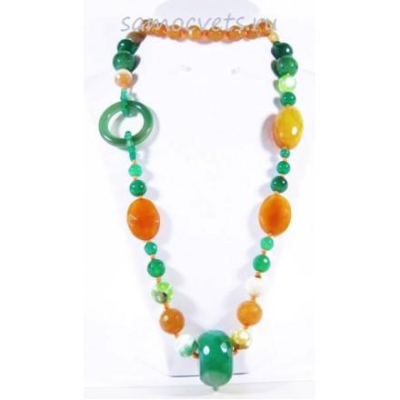 Колье Оранжевый и Зелёный Агат Камнерезы 1
