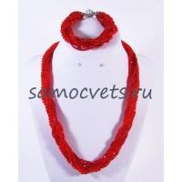Хрустальный Комплект с бисером Красный (Бусы + Браслет) Жгут