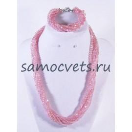 Хрустальный Комплект с бисером Розовый (Бусы + Браслет) Жгут