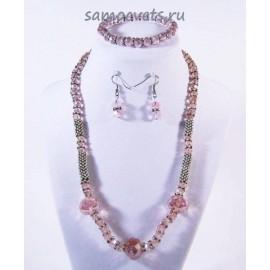 Комплект из Хрусталя  (Браслет + Бусы + Серьги) Розовый Чанда