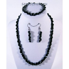 Комплект Циркон (бусы + браслет + серьги) - Чёрный