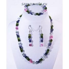 Комплект Циркон (бусы + браслет + серьги) Разноцветный