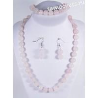 Комплект из розового кварца шар 10 мм (Бусы + Браслет + серьги)