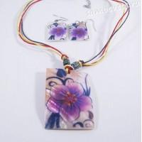 Комплект из Перламутра (ракушка) Фиолетовый Колье + серги