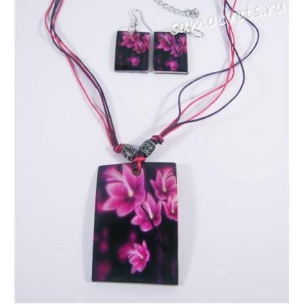Комплект из Перламутра (ракушка) Розовый Колье + серги