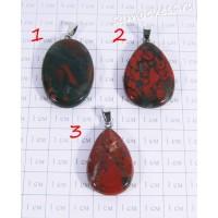 Кулон красная яшма плоская капля - 2