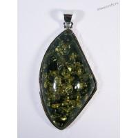 Кулон имитация янтаря - зелёный