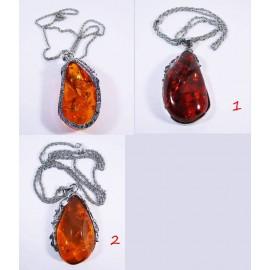 Кулон на цепочке янтарь имитация Золотая осень