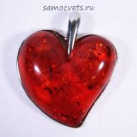 Кулон имитация Янтаря Сердце Светло - Коричневый