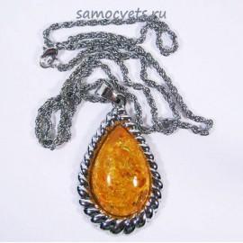 Кулон на цепочке Солнечный Янтарь имитация Золотая осень капля