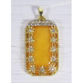 Кулон имитация янтаря цвета яичного желтка - прямоугольник