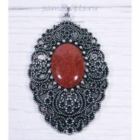 Кулон Коричневый Авантюрин искусств. Великолепный век кабошон 18х25