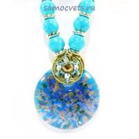 Кулон из Муранского стекла на шнурке из биссера круг Голубой