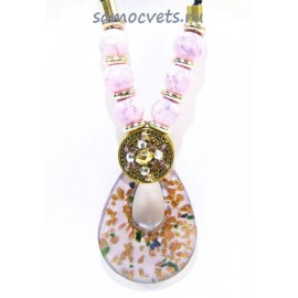 Кулон из Муранского стекла Розовый на шнурке из биссера овал