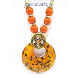 Кулон из Муранского стекла на шнурке из биссера круг Оранжевый