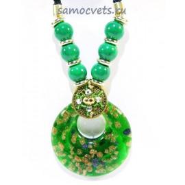 Кулон из Муранского стекла и Зелёной Бирюзы искусст. на шнурке из биссера круг