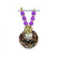 Кулон из Муранского стекла Фиолетовый на шнурке из биссера круг
