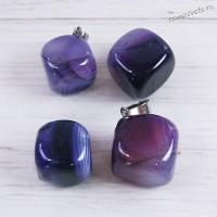 Кулон из фиолетово агата - Кубик