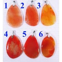 Кулон Агат оттенки оранжевого полированный - 2