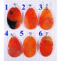 Кулон из Агата оттенки оранжевого полированный - 3