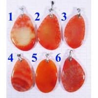 Кулон из Агата оттенки оранжевого полированный - 4