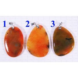 Кулон Агат оттенки оранжевого полированный - 5