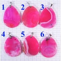 Кулон из Агата оттенки розового полированный - 1