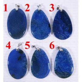 Кулон из Агата оттенки Синего полированный - 1