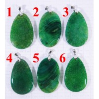 Кулон из Агата оттенки Зелёного полированный - 1