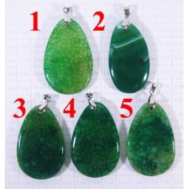 Кулон из Агата оттенки Зелёного полированный - 4