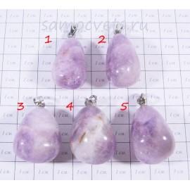 Кулон светлый Аметист (цвет лавандовый) Каменные капли 4
