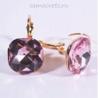 Серьги Большие Кристаллы Розовые
