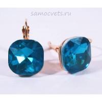 Серьги Большие Кристаллы Голубые