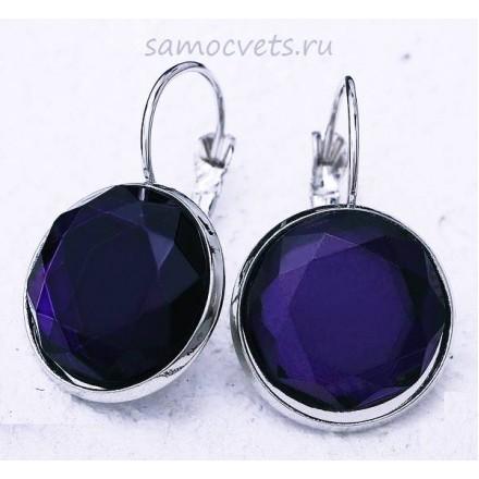Серьги кристаллы круг 15 мм фиолетовые