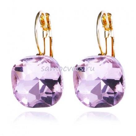 Серьги Большие Кристаллы Серебристо - Фиолетовые