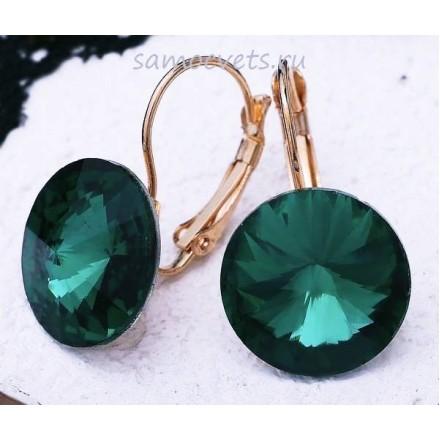 Серьги Кристаллы круг 15 мм Зелёные