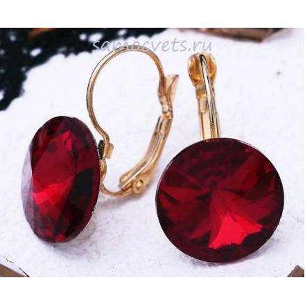 Серьги Кристаллы круг 15 мм Красные