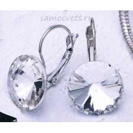 Серьги Кристаллы круг 15 мм Белые